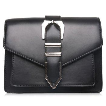 Buckled Stitching Flap Crossbody Bag - BLACK BLACK