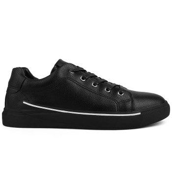 Round Toe Lace Up Skate Shoes - BLACK BLACK