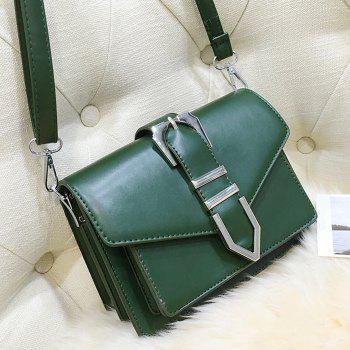 Buckled Stitching Flap Crossbody Bag - GREEN