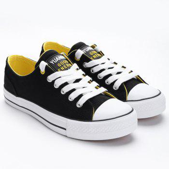 Casual Canvas Skate Shoes - BLACK 36