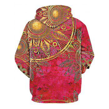 Maya Totem Printed Kangaroo Pocket Hoodie - RED 2XL