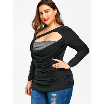 Plus Size Cutout Ruched T-shirt - BLACK BLACK