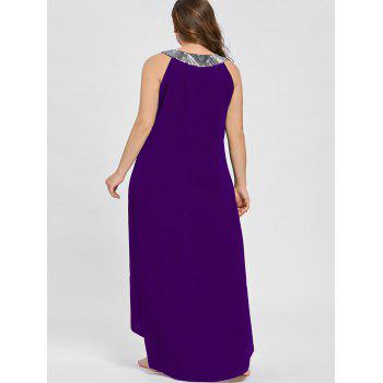 Sequins Collar Plus Size Sleeveless Maxi Dress - PURPLE 2XL