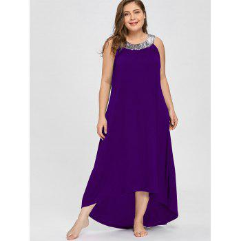 Sequins Collar Plus Size Sleeveless Maxi Dress - PURPLE 3XL