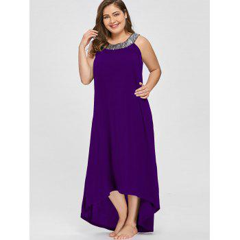 Sequins Collar Plus Size Sleeveless Maxi Dress - PURPLE 4XL
