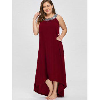 Sequins Collar Plus Size Sleeveless Maxi Dress - WINE RED XL