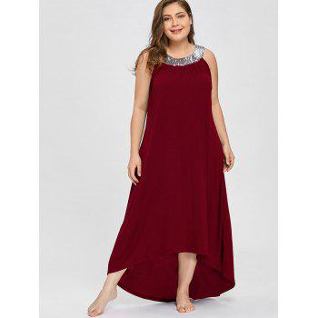 Sequins Collar Plus Size Sleeveless Maxi Dress - WINE RED 2XL
