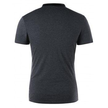 Button Decorated Cowl Neck T-shirt - DARK GREY DARK GREY