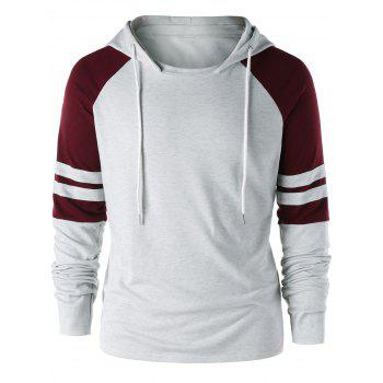 Raglan Sleeve Two Tone Hoodie - GRAY AND RED GRAY/RED