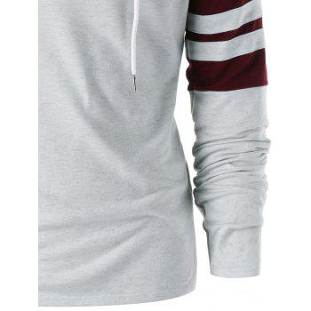 Raglan Sleeve Two Tone Hoodie - GRAY/RED XL