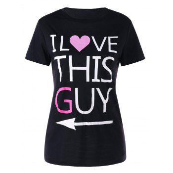 Letter Print Matching Couple Tee - BLACK WOMEN L