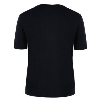 T-Shirt Imprimé Lettre Couple Assorti - Noir MEN L