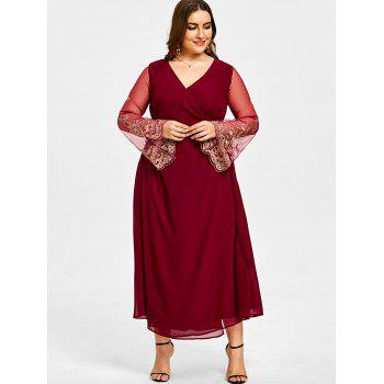 Plus Size High Slit Sheer Sleeve Surplice Dress - WINE RED XL