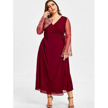 Plus Size High Slit Sheer Sleeve Surplice Dress - WINE RED 4XL