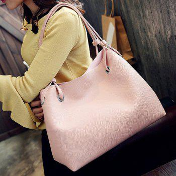 Magnetic Closure Textured Leather Shoulder Bag - PINK