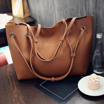Magnetic Closure Textured Leather Shoulder Bag - BROWN