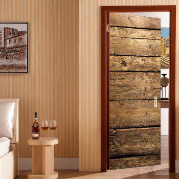 Woodgrain Print Door Decals - DEEP BROWN 38.5*200CM*2PCS
