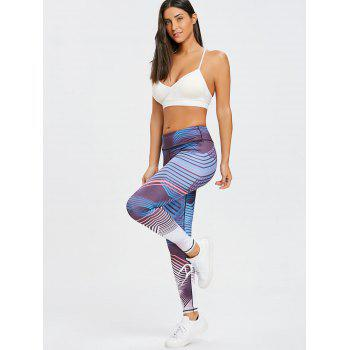Skinny Striped Ombre Sports Leggings - PURPLE S