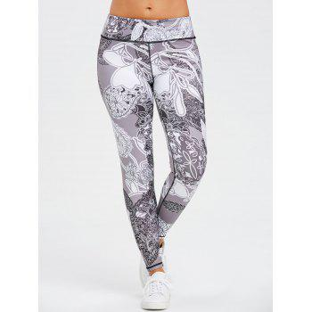 Monochrome Floral Print Skinny Workout Leggings - BLACK M