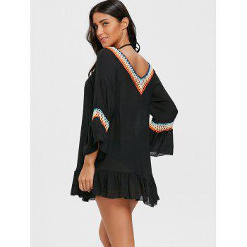 Colored Crochet Ruffled Beach Cover Up Tunic - BLACK ONE SIZE