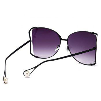 Cut Out Lens Oversized Metal Square Sunglasses - BRIGHT BLACK/GREY