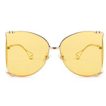 Cut Out Lens Oversized Metal Square Sunglasses - YELLOW