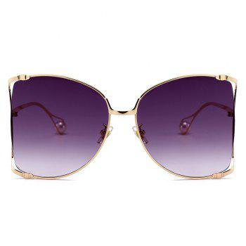 Cut Out Lens Oversized Metal Square Sunglasses - GOLDEN/GREY