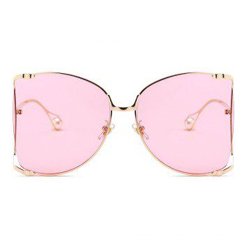 Cut Out Lens Oversized Metal Square Sunglasses - PINK