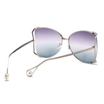 Cut Out Lens Oversized Metal Square Sunglasses - SAGE GREEN