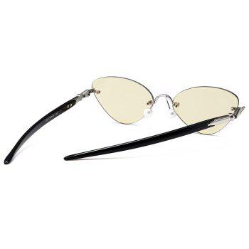 Straight Legs Rimless Cat Eye Sunglasses - LIGHT YELLOW