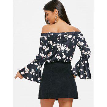 Flare Sleeve Off Shoulder Floral Blouse - BLACK L