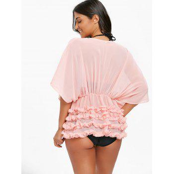 See Through Ruffles Cover Up Kimono - PINK S