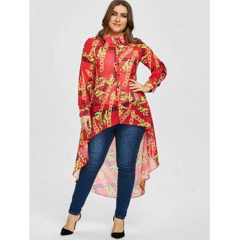 Plus Size Pattern Chiffon Long High Low Top - RED RED
