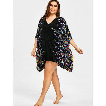 Plus Size Floral Batwing Sleeve Beach Cover Ups - BLACK 3XL