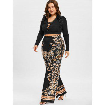 Baroque Print Wide Leg Pants - BLACK 2XL