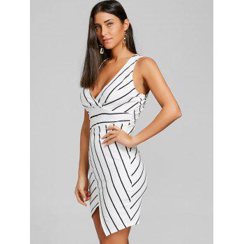 V Neck Striped Asymmetric Dress - BLACK STRIPE L