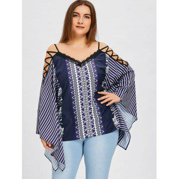 Plus Size Lattice Cut V Neck Striped Blouse - COLORMIX 3XL