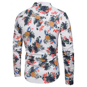 Pineapple and Floral Print Shirt - WHITE 2XL