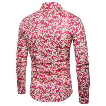 Long Sleeve Tiny Florals Print Shirt - RED L