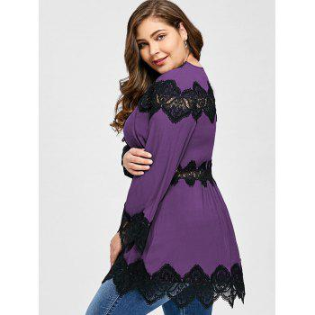 Plus Size Lace Panel Long Sleeve Peplum Blouse - PURPLE XL