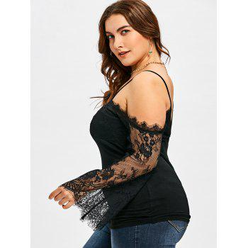 Plus Size Lace Panel Bell Sleeve Blouse - BLACK 2XL