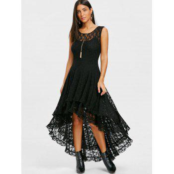 Layered Lace High Low Dress - BLACK L