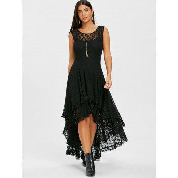 Layered Lace High Low Dress - BLACK XL