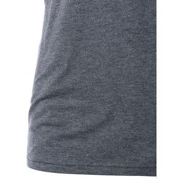 V Neck Marled Formfitting T-shirt - GRAY M