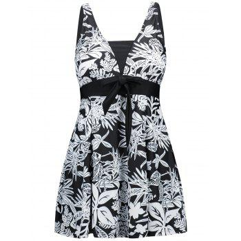 One Piece Plus Size Flower Print Swimdress - BLACK 3XL