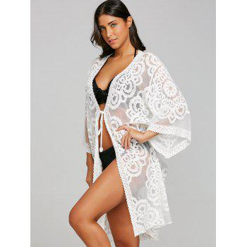 Embroidered Lace Kimono Cardigan Cover Up - WHITE ONE SIZE