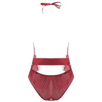 Lace Plunge Belted Sheer Teddy - WINE RED L