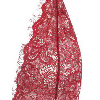 Lace Plunge Belted Sheer Teddy - WINE RED XL
