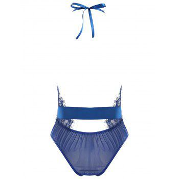 Lace Plunge Belted Sheer Teddy - BLUE M