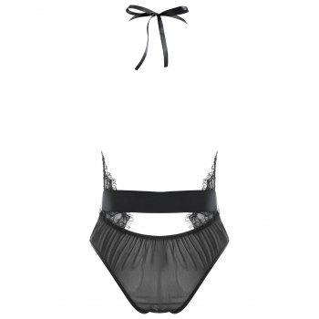 Lace Plunge Belted Sheer Teddy - BLACK M